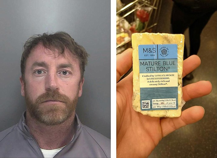 Two images released Thursday May 27, 2021, by Merseyside Police showing a photo of Carl Stewart, left, and the photo he posted of himself holding a block of cheese that was used by police to identify Stewart who has been jailed since Friday May 23, 2021, for 13 years and six months on various drugs charges. Carl Stewart, 39, posted online a photo of himself holding a block of mature blue cheese and police in Europe cracked the encrypted network as part of Operation Venetic, and officers were able to analyse his fingerprints from the photo to identify him. (Carl Stewart/Merseyside Police via AP)