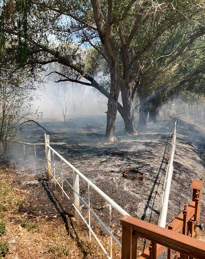 Property in Dewey-Humboldt is charred after a fire Thursday, May 27, 2021. (Central Arizona Fire & Medical)