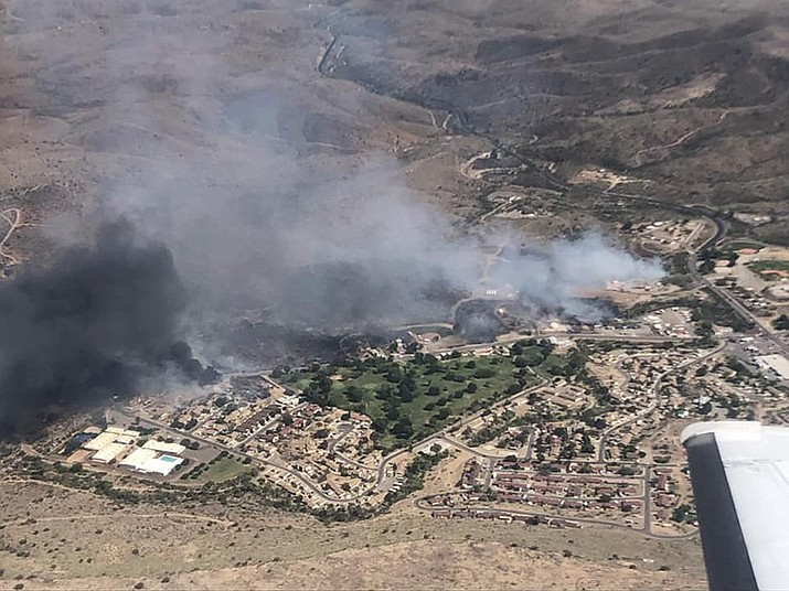 The Spur Fire burns in Bagdad, Arizona, west of Prescott on Thursday afternoon, May 27, 2021. (Arizona Department of Forestry and Fire Management)