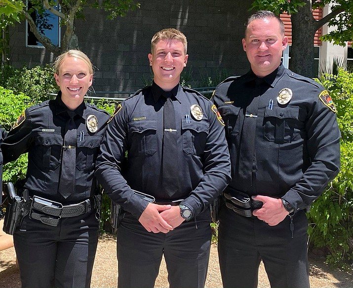The Prescott Valley Police Department welcomed graduates April Zicopoulos, Nick Reynolds and Daniel McKinnies from the Northern Arizona Regional Training Academy's Class No. 50 on May 27, 2021. The trio will join Prescott Valley PD. (PVPD/Courtesy)