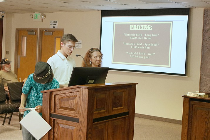 Wyatt and Crystal Patton, owners of Ichor Airsoft LLC, present their case to the Chino Valley Town Council as to why they should approve the Mud Track at Old Home Manor to be used as an airsoft arena, during a meeting Tuesday, May 25, 2021. (Town of Chino Valley, Facebook/Courtesy)