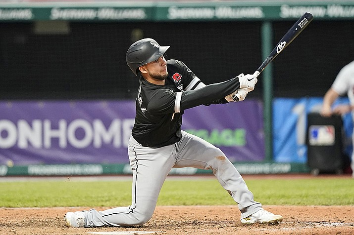 Chicago White Sox's Nick Madrigal strikes out swinging in the seventh inning of the second baseball game of a doubleheader against the Cleveland Indians, Monday, May 31, 2021, in Cleveland. The Indians won 3-1. (Tony Dejak/AP)