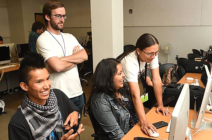 The Andy Harvey Indigenous Youth Media Workshop brings 25 Native American high school students from across Arizona & the Southwest to the Northern Arizona University Flagstaff campus to learn about broadcast media and journalism. (Photo/NAU)