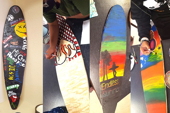 Finishing touches on longboards designed by eighth grade students at Winslow Jr. High were made May 19. (Photo/Winslow Jr. High School)