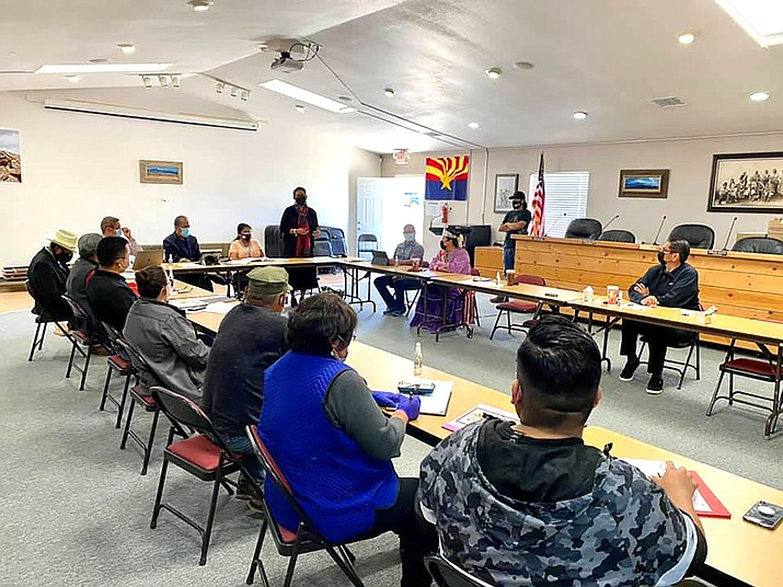 Navajo President Jonathan Nez meets with Navajo chapter officials and local leaders May 24 to discuss the American Rescue Plan Act.  (Photo/Office of the Navajo President)
