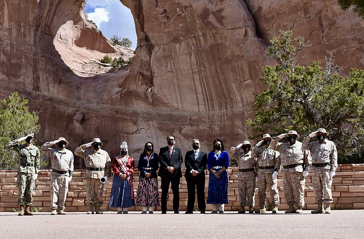 Navajo Nation officials gathered at the memorial wall in Window Rock, Arizona, May 31 for a Memorial Day ceremony remembering those who have died in the line of duty. (Photo/OPVP)