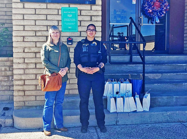 The Thin Blue Line dropped off goodie bags for Williams Police officers and staff, including a special bag for K-9. (Photo/WPD)