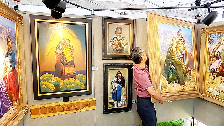 Paintings on display at Phippen Western Art Show and Sale. (Courtesy)