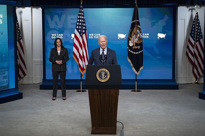 Vice President Kamala Harris listens as President Joe Biden speaks about the COVID-19 vaccination program, in the South Court Auditorium on the White House campus, Wednesday, June 2, 2021, in Washington. (Evan Vucci/AP)