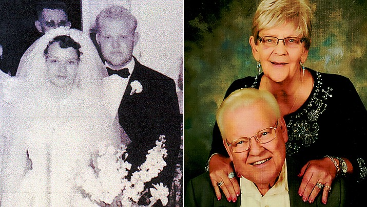 Gene and Janel Todd of Prescott Valley will celebrate their 65th wedding anniversary on June 8. Shown are the couple in 1956 and today.(Courtesy)