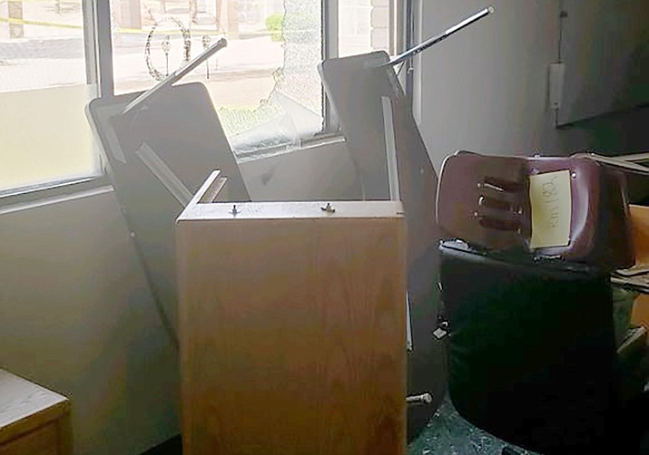 This image shows some of the damage that occurred at Dr. Daniel Bright School in Cottonwood in the early-morning hours of Wednesday, June 2. A reward is offered for information leading to an arrest. Courtesy of Yavapai County Sheriff's Office