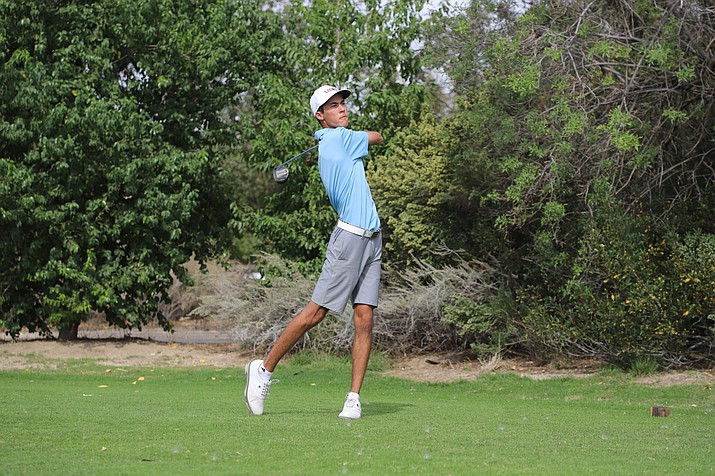 Loyola Marymount University golfer Riley Lewis, who is from Prescott and attended BASIS Prescott, tees off on a hole during his freshman season. He was named the West Coast Conference Freshman of the Year for his excellent play during his first year with the Lions. (LMU Athletics/Courtesy)