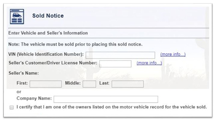 """Submitting a """"sold notice"""" to Arizona Department of Transportation Motor Vehicle Division is easy. Simply, log in to your account at AZMVDNow.gov and click on """"submit a sold notice."""" (ADOT/MVD site screenshot)"""