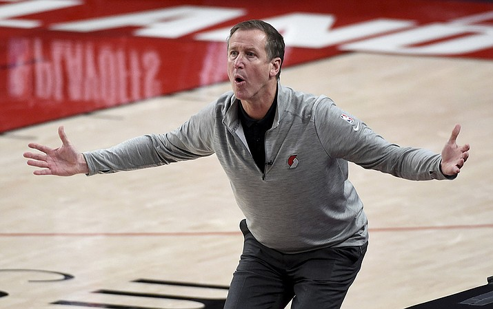 Portland Trail Blazers head coach Terry Stotts reacts to an official's call during the first half of Game 4 of an NBA basketball first-round playoff series against the Denver Nuggets in Portland, Ore., Saturday, May 29, 2021. (Steve Dykes/AP)
