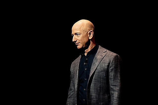 Jeff Bezos has announced that he will be part of the first crew to fly his Blue Origin space capsule into space next month. (Photo by Daniel Oberhaus, cc-by-sa-4.0, https://bit.ly/3ps4IIl)