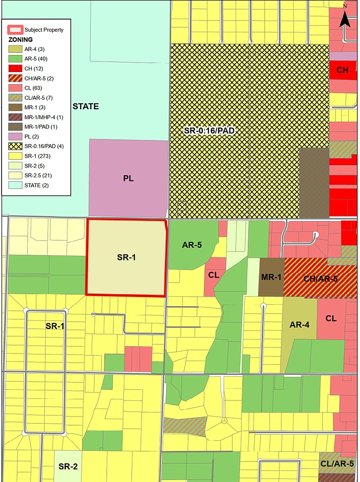 The Chino Valley Planning & Zoning Commission discussed at length a project that would rezone 41 acres of a real property at the corner of Road 2 North and Road 1 West to develop 207 lots with an approximate density of 5.05 dwelling units per acre during a meeting on Tuesday, June 1. (Town of Chino Valley/Courtesy)