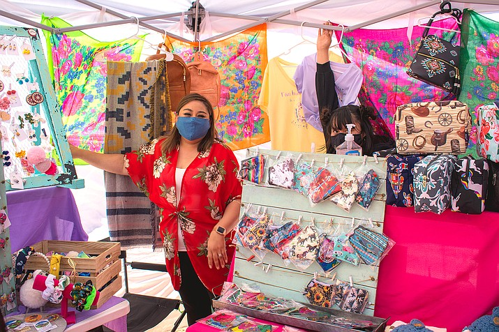 Vendors sale their wares at the Tuba City Flea Market May 29-31. As of May 17, the Navajo Nation lifted restrictions to allow food vendors and markets to operate. (Photo/Alyssa Peaches Armendez)