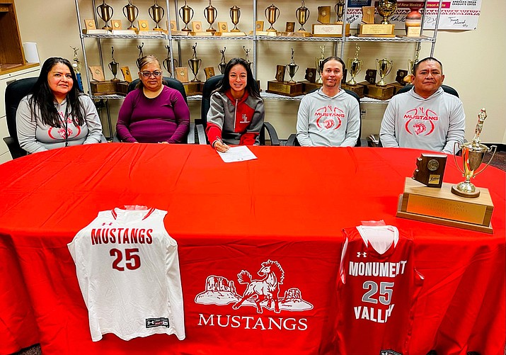Adriana Sheppard, a four-year basketball player at Monument Valley High School in Kayenta, Arizona, recently signed a letter of intent to play basketball for Park University Gilbert in Gilbert, Arizona. (Photos/Monument Valley High School)