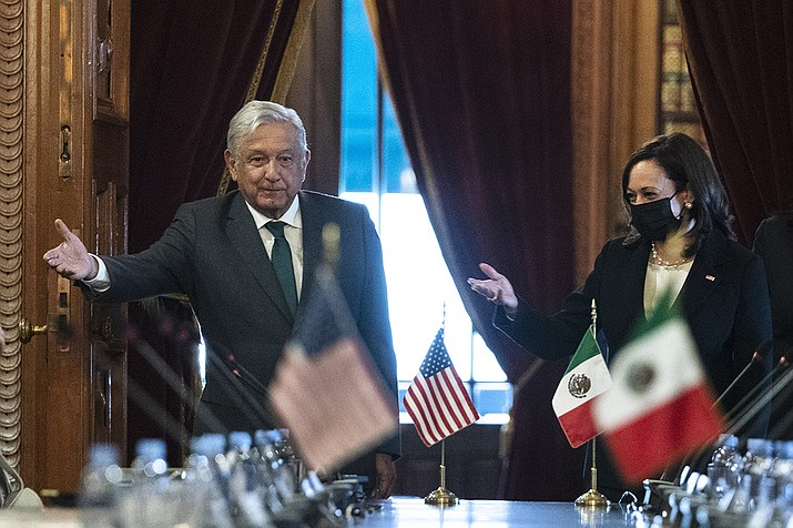 Vice President Kamala Harris and Mexican President Andres Manuel Lopez Obrador arrive for a bilateral meeting Tuesday, June 8, 2021, at the National Palace in Mexico City. (Jacquelyn Martin/AP)