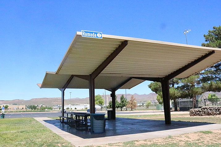 Kingman City Expo will be held at Centennial Park on Thursday, June 10 from 3-6 p.m. One of the ramadas at Centennial Park is pictured. (Miner file photo)