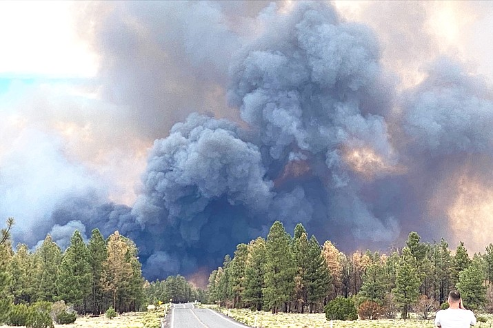 The Slate Fire is burning in the Coconino National Forest near Flagstaff. Officials with the U.S. Forest Service, along with some municipal departments, decided to implement Stage II restrictions this week. Courtesy of Arizona Department of Transportation