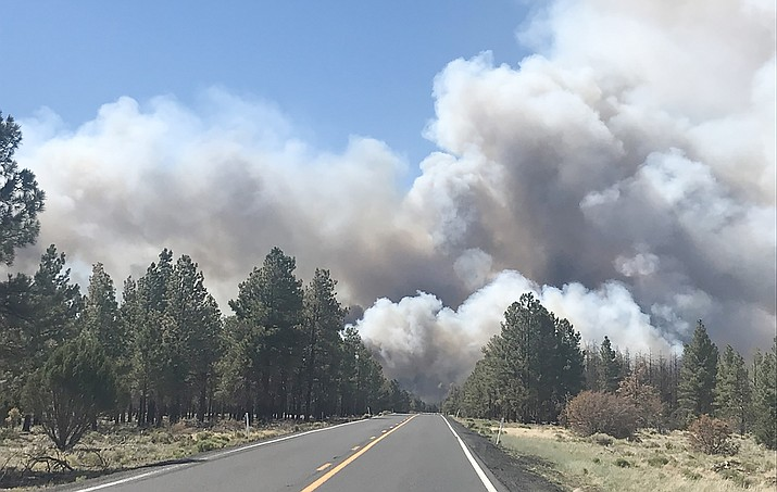 The Slate Fire had only burned about 100 acres as of Monday night, but the fire has closed the highway leading from Flagstaff to the South Rim of the Grand Canyon and was burning only 23 miles from Flagstaff. A handful of other fires were raging around the state as of Tuesday morning. Courtesy of Arizona DOT