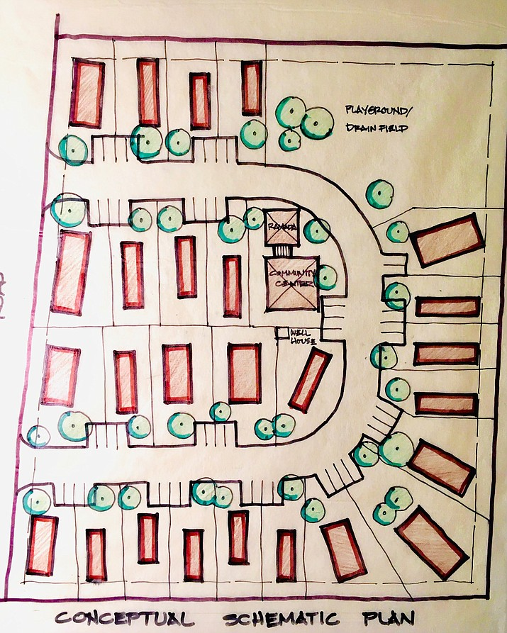 A portion of a schematic that shows 25 potential affordable mobile homes in Chino Valley. The Coalition for Compassion and Justice is in escrow for a 4-acre parcel zoned for such a purpose near the business district. The multi-phase project could be complete by 2024. (CCJ/Courtesy)