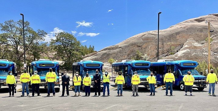 The Navajo Transit System recently received 39 new hybrid buses to serve the Navajo Nation. Bus fares are waived during the ongoing COVID-19 pandemic, all passengers must adhere to COVID-19 preventative measures. (Photo/Office of the Navajo President)