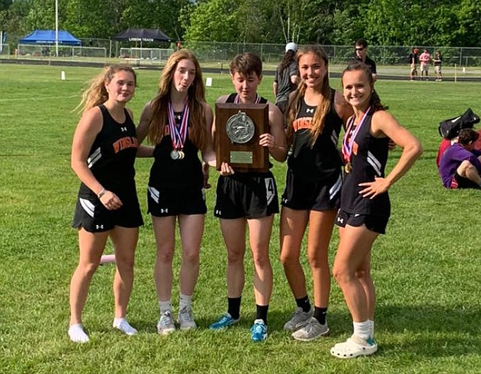 The Winslow High School girls track team celebrates their win as the 2021 Class C Runner Up (Photo/Winslow High School Athletics)