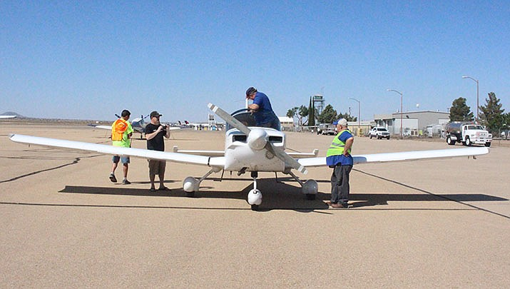 Kingman kids got a free airplane ride after participating in a ground school on Saturday during the Young Eagles Rally. (Photo by MacKenzie Dexter/Kingman Miner)
