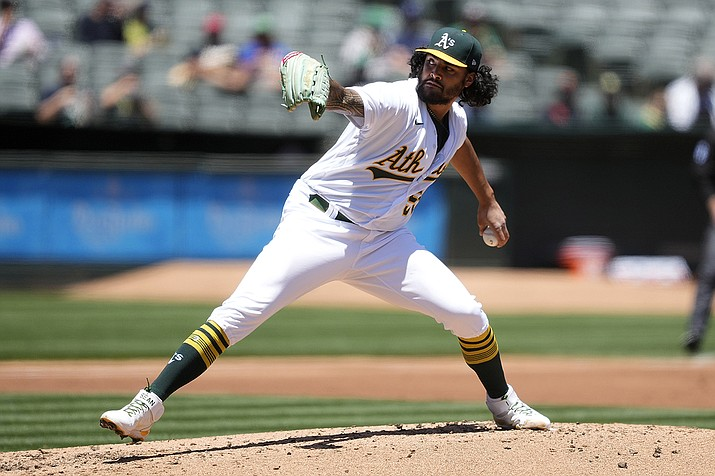 Oakland Athletics starting pitcher Sean Manaea delivers against the Arizona Diamondbacks during the second inning of a baseball game Wednesday, June 9, 2021, in Oakland, Calif. (Tony Avelar/AP)