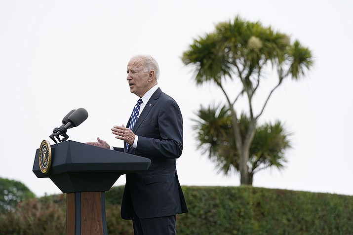 President Joe Biden speaks about his administration's global COVID-19 vaccination efforts ahead of the G-7 summit, Thursday, June 10, 2021, in St. Ives, England. (Patrick Semansky/AP)