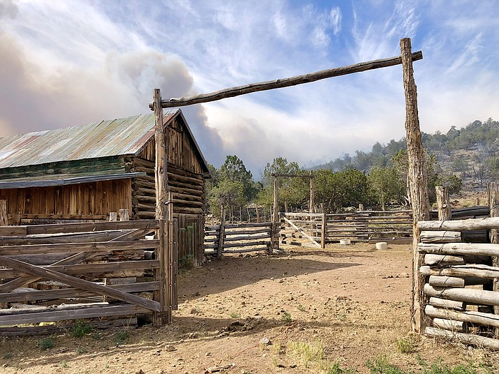 Crews burned out along the boundary of Cedar Ranch adjacent to Coconino National Forest as the main fire was approaching the private property. The backfire reduced fuels near the ranch and kept the historic barn and other structures from being destroyed. (Photo/USFS)