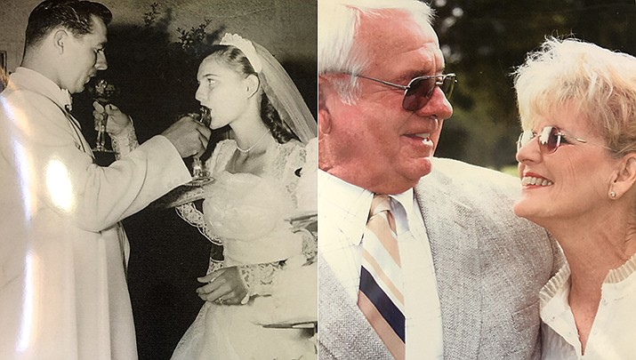 Don Parks married Pat walker on June 14, 1956, at the First Congregational Church in Phoenix, Arizona. The couple is shown then and now. (Courtesy)