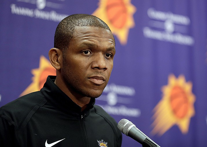 In this April 24, 2019, file photo, Phoenix Suns general manager James Jones speaks to the media regarding the firing of Suns head coach Igor Kokoskov during an NBA basketball news conference in Phoenix. Jones' hiring of coach Monty Williams and acquiring of All-Star guard Chris Paul are two of the biggest reasons why the Suns are in the second round of the playoffs for the first time since 2010. (Matt York, AP FIle)