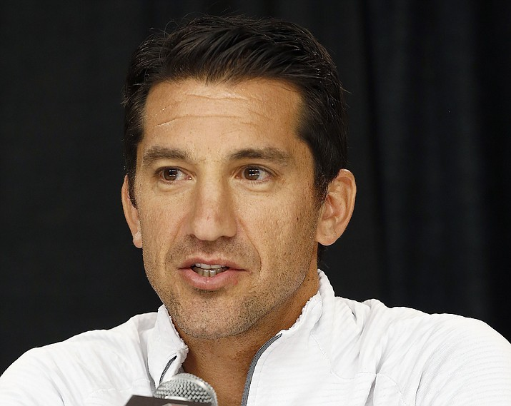 In this Oct. 10, 2017, file photo, Arizona Diamondbacks general manager Mike Hazen speaks during a news conference at Chase Field in Phoenix. Hazen is taking a physical leave of absence from the team while his wife Nicole is dealing with brain cancer. Hazen said Friday, June 11, 2021, that he will continue to consult regularly with assistant general manager Amiel Sawdaye, who will take over day-to-day baseball operations. (Ross D. Franklin/AP, file)
