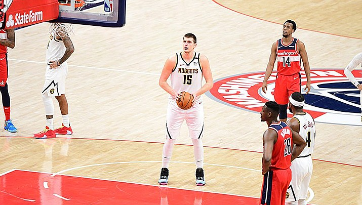 Nikola Jokic of the Denver Nuggets celebrated his winning the NBA MVP award before playing Phoenix on Friday, June 11, but Phoenix celebrated another win 116-102 to take a 3-0 lead in the Western Conference semi-final series. (Photo by All-Pro Reels, cc-by-sa-2.0, https://bit.ly/3vfM8nN)