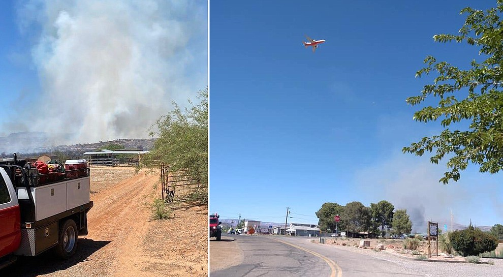 LEFT: Crews fight the Cornville Fire. (Sedona Fire Department) Right: Smoke from the Cornville Fire (Yavapai County Sheriff's Office).
