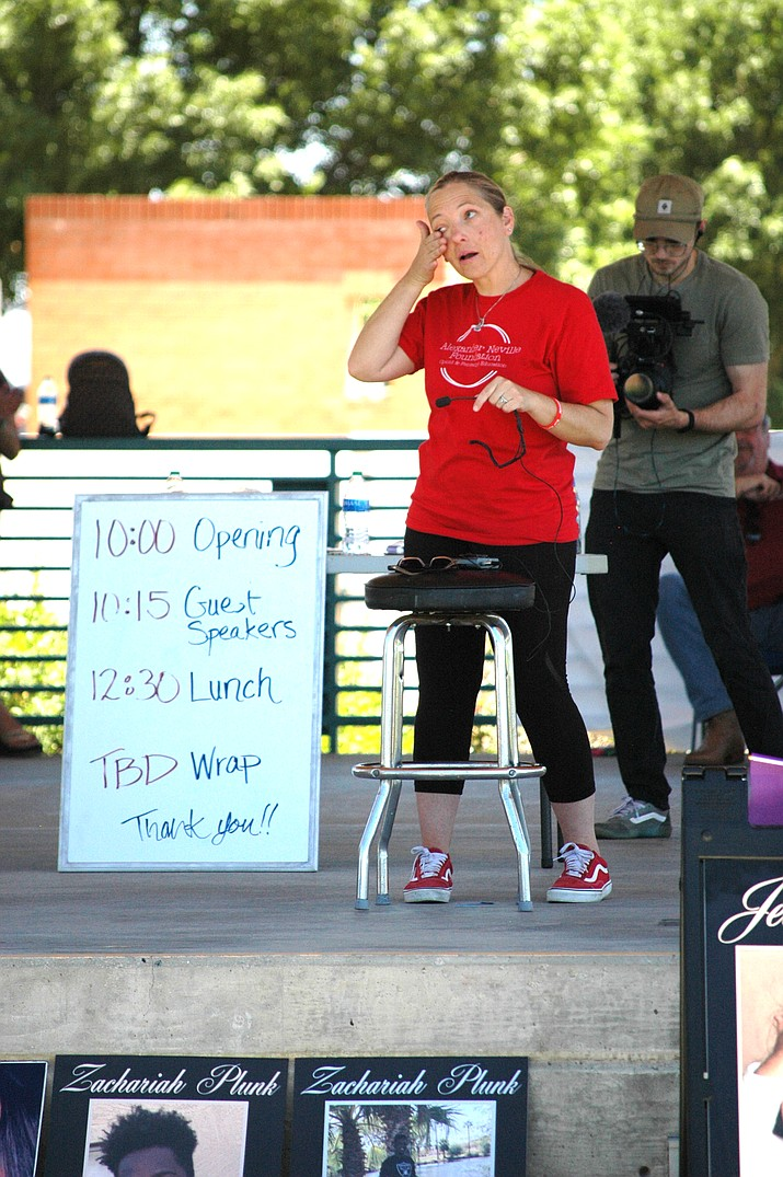 Amy Neville tears up about her son, Alexander, at the Fentanyl Death Bereavement Day in Prescott Valley, Sunday, June 13, 2021. Neville organized the event; her 14-year-old son died a year ago of fentanyl poisoning. (Doug Cook/Tribune)