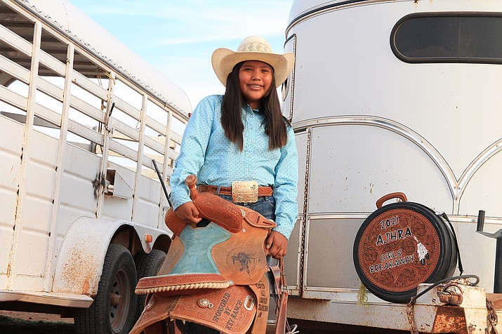 Shilah Williams, an eighth grade student from Tuba City, Arizona will compete in the Girls Breakaway Roping event at the National Junior High Finals Rodeo in Des Moines, Iowa, June 20-26. (Loretta McKenney/NHO)