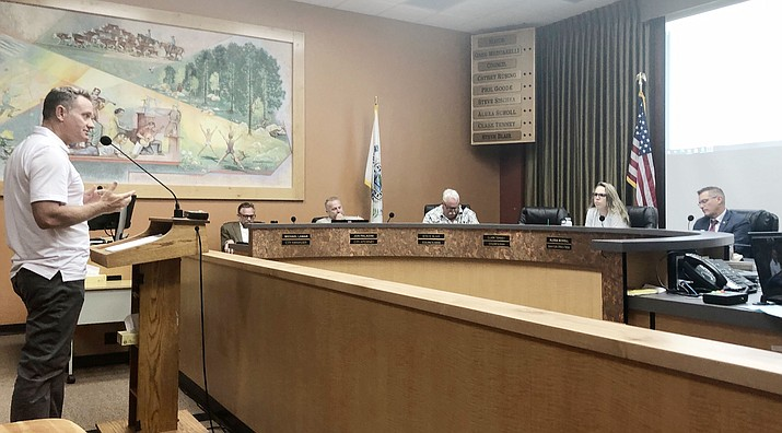 At a Tuesday, June 15, 2021, Prescott City Council study session, AED developer Jason Gisi talks to the City Council about the Granite Dells-area annexation and project he is proposing. (Cindy Barks/Courier)