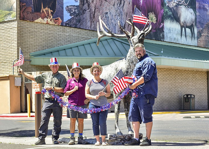 A drone show, parade and multiple family events are planned for the Fourth of July in Tusayan. From left: South Rim Grand Canyon Chamber of Commerce board member Stoney Ward, Chamber President Romy Murphy, town of Tusayan Mayor Clarinda Vail and Vice-Mayor Brady Harris. (V. Ronnie Tierney/WGCN)