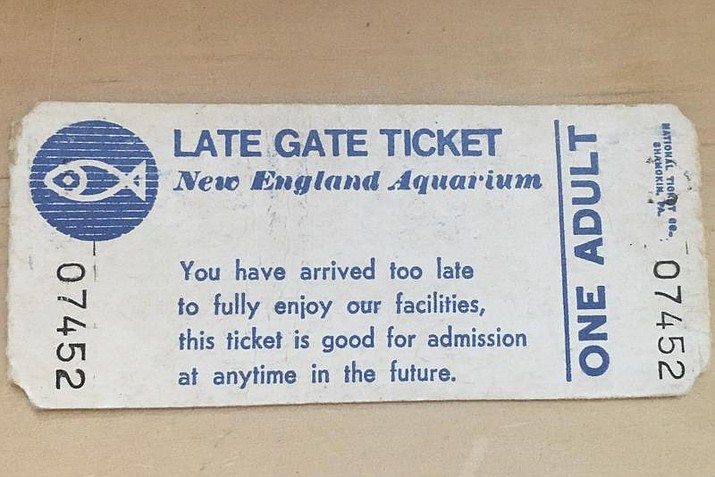 """This photo provided by Rachel Carle shows a 1983 entrance gate ticket to the New England Aquarium in Boston. It was first purchased in 1983 by Catherine Cappiello, who came to visit the aquarium, but was too late to enter that day. Her grand niece, Rachel Carle, 26, used the ticket, which allowed the holder to return """"at anytime in the future"""" for entry, on Thursday, June 10, 2021, more than 37 years later. (Rachel Carle via AP)"""