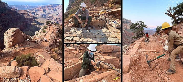 National Park Service Trail Crew members work on sections of the South Kaibab Trail in the Grand Canyon. (Photo/NPS)