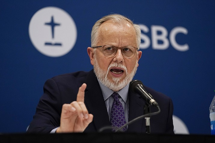 Pastor Ed Litton, of Saraland, Ala., answers questions after being elected president of the Southern Baptist Convention Tuesday, June 15, 2021, in Nashville, Tenn. (Mark Humphrey/AP)