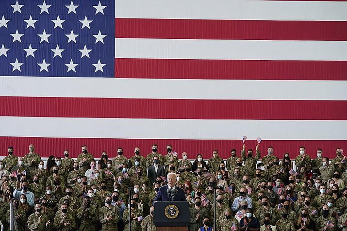 President Joe Biden speaks to American service members at RAF Mildenhall in Suffolk, England, Wednesday, June 9, 2021. (Patrick SemanskyAP)