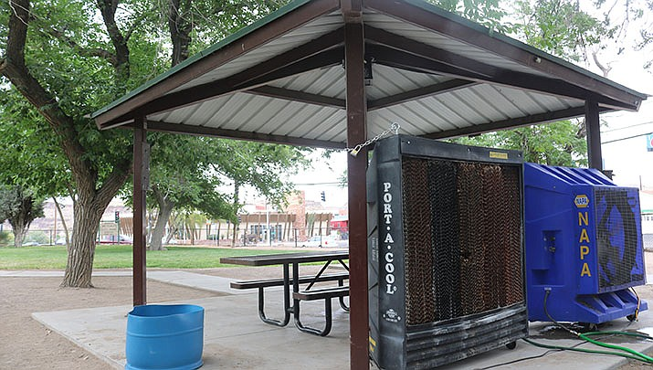 The National Weather Service has extended the excessive heat warning for the Kingman area through Sunday, June 20. One of the three cooling stations set up in Kingman is pictured. (Miner file photo)