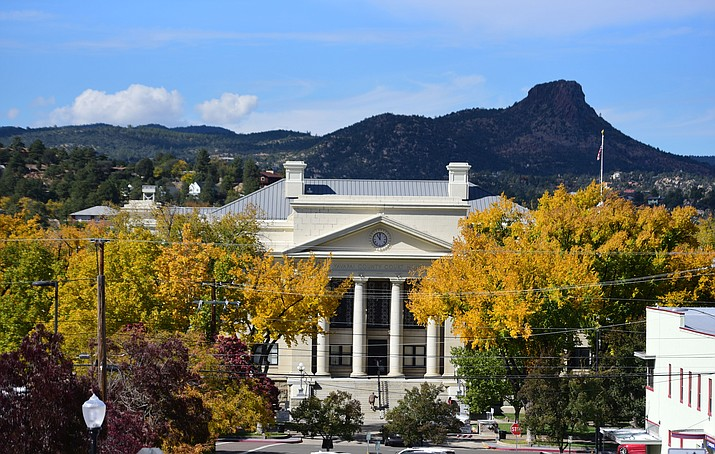 """This 2019 file photo shows the Yavapai County courthouse in downtown Prescott. On Saturday, June 19, 2021, the Prescott Jazz Society, CornerStone Entertainment and the Prescott Downtown Partnership will host a """"JuneTeenth Jazz Splash"""" to commemorate the newest federal holiday. (Courier file photo)"""
