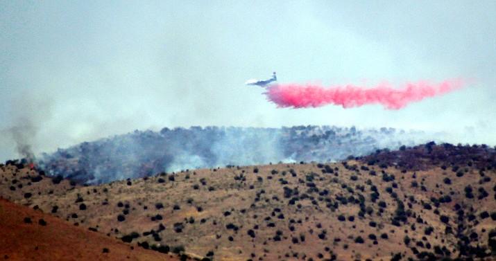 Planes drop fire retardant on the Wildcat Fire east of Chino Valley, Thursday, June 17, 2021. (David Stoltzmann/Courtesy)