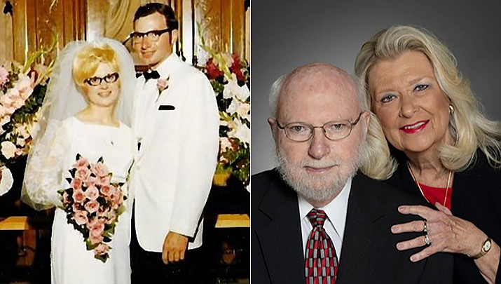 Al and Shirley Sibson were married at the Finley Lutheran Church in Finley, North Dakota, on June 26, 1971. The couple is shown then and now. (1971 photo by Gene Trautman of Cooperstown, North Dakota. Anniversary photo by Jon Nolan of Prescott Valley)